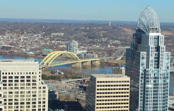 The Big Mac bridge and Great American Tower from the top of the Carew Tower