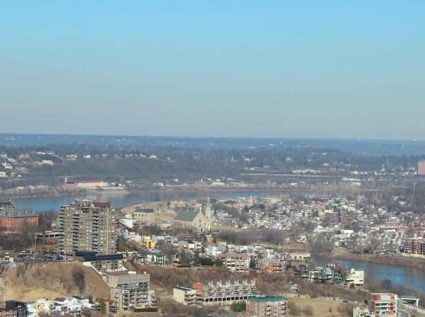 the view of Mt. Adams from the Carew Tower in Cincinnati, Ohio