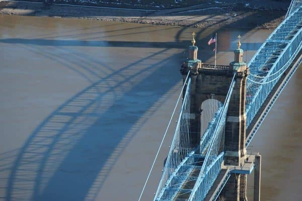 The John Roebling Suspension Bridge from the top of the Carew Tower