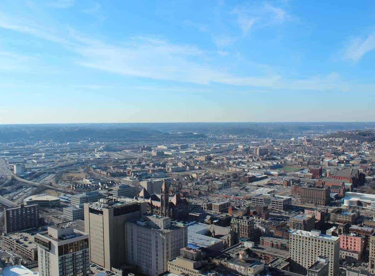 View of Cincinnati from high atop the Carew Tower