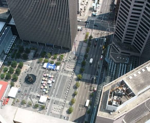 A look at Fountain Square from the top of the Carew Tower