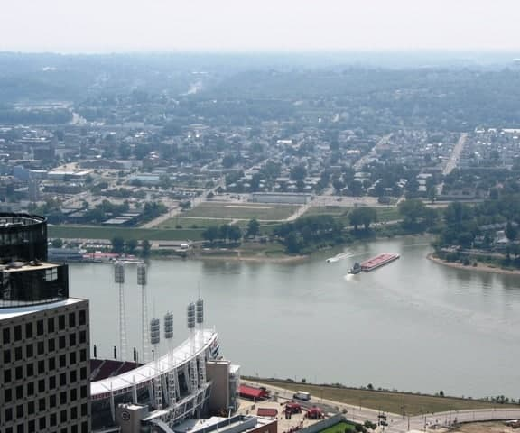 Great American Ballpark and the Ohio River from the Carew Tower