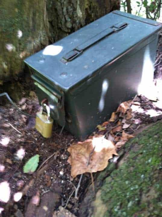 a geocaching treasure box