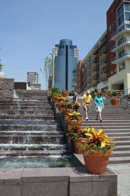 fountains and steps at Smale Riverfront Park