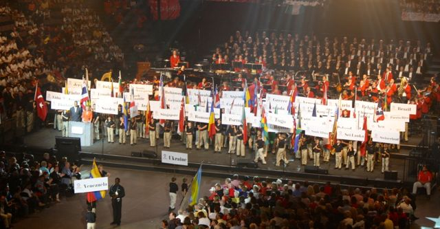 world choir games opening ceremonies - flags of nations