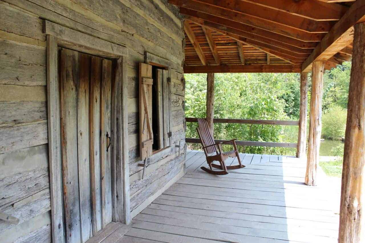Abner Hollow Pioneer Cabin front porch at Cincinnati Nature Center Rowe Woods