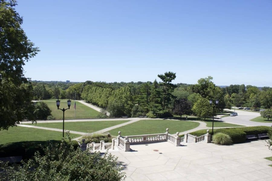 view from the top of the ault park pavilion