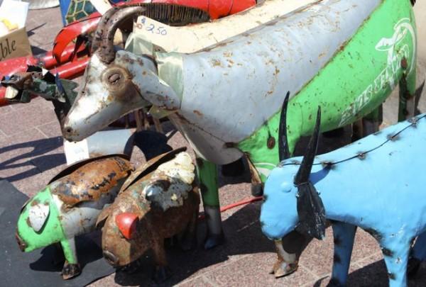 tin goats and animals at City Flea