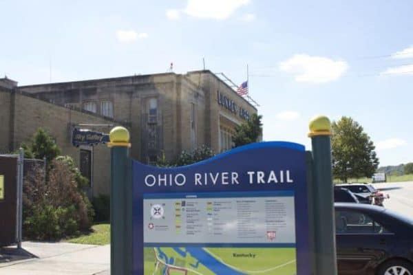 Lunken Airport and the sign at the Ohio River Trail