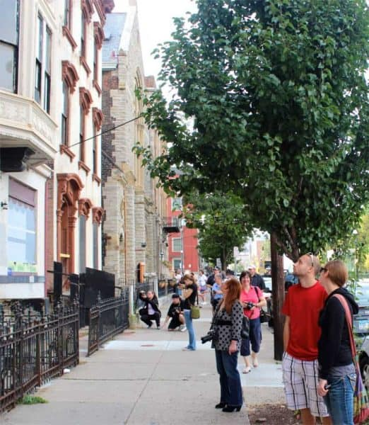 admiring architecture on Race Street in Over the Rhine