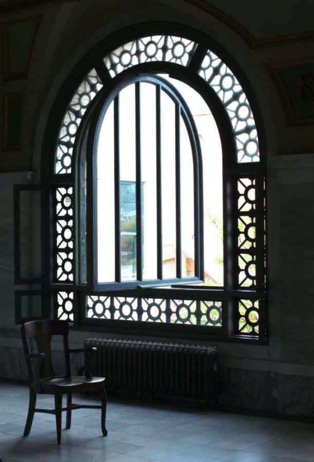 Memorial Hall windows overlooking Cincinnati