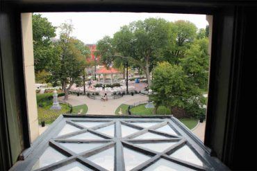 looking out the window at Memorial Hall