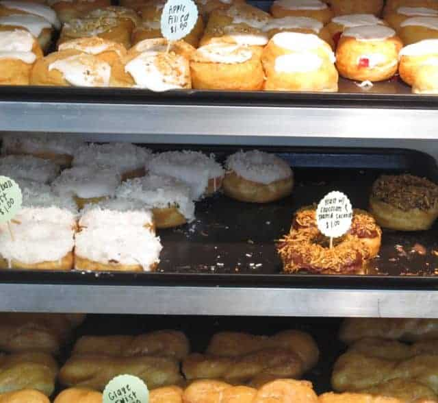 donut selection at Holtmans Donuts in Over Rhine