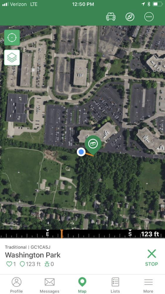 Aerial View of Geocache app