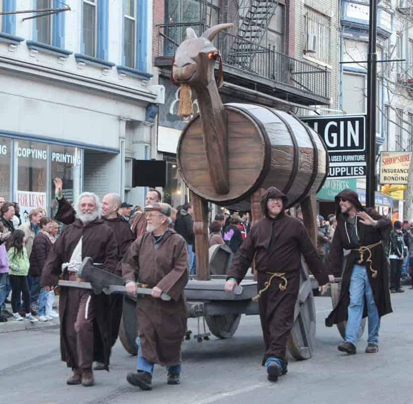 The Bockfest Parade in Cincinnati with the trojan goat