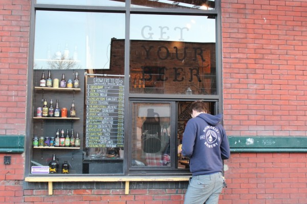 Order your brew from HalfCut's Walk Up Window