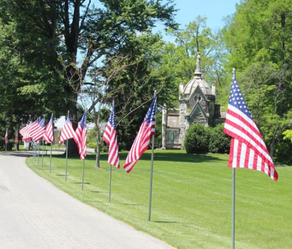 flags for Memorial Day Weekend at Spring Grove Cemetery