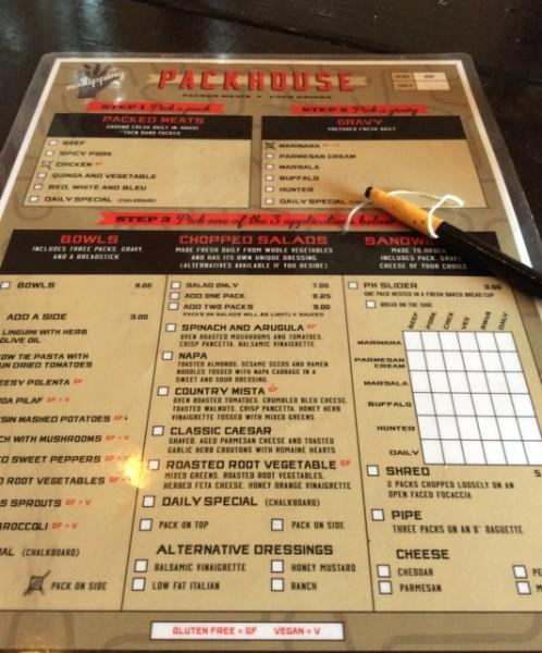 menu at Packhouse Meats