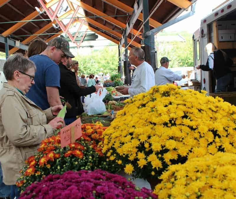 Mums and vegetables at Findlay Market