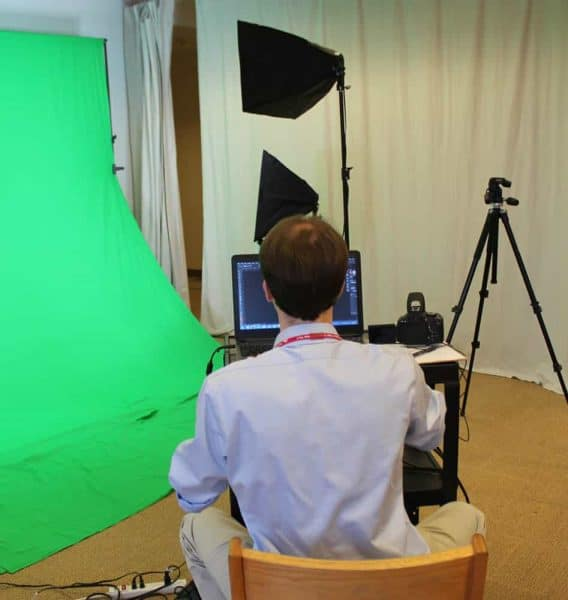 green screen and camera at downtown library MakerSpace