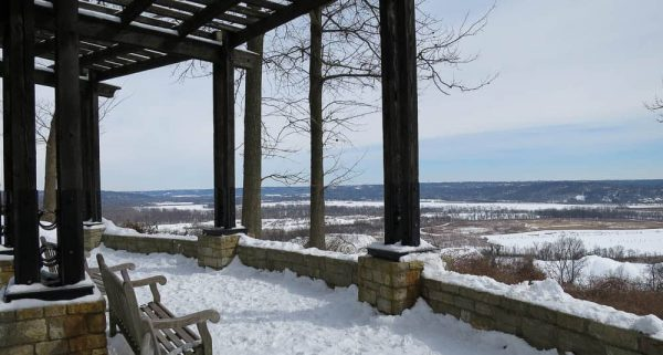 The Ault Park overlook on a snowy day