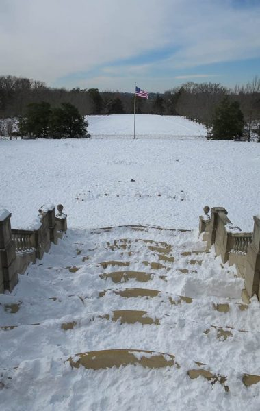The frozen fountain at Ault Park