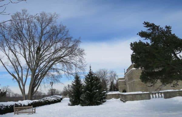 A snowy Ault Park in Cincinnati