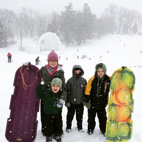 sledding at Devou Park in Kentucky