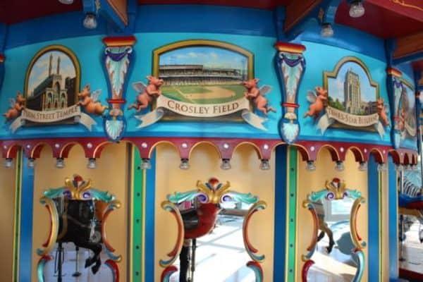 Cincinnati landmarks on the carousel at Smale Park