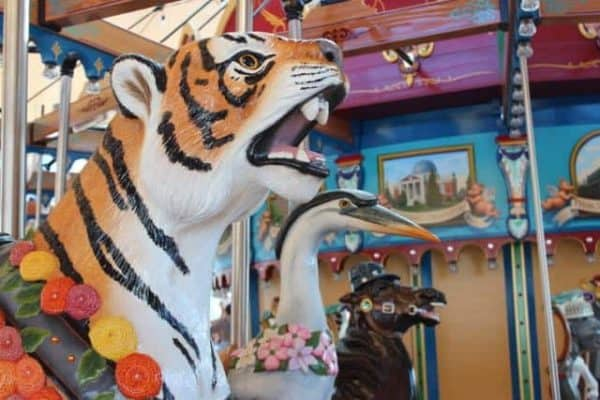 profiles of carousel animals at Smale Park