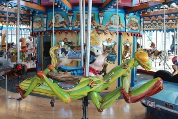 whimsical characters on the carousel in Cincinnati