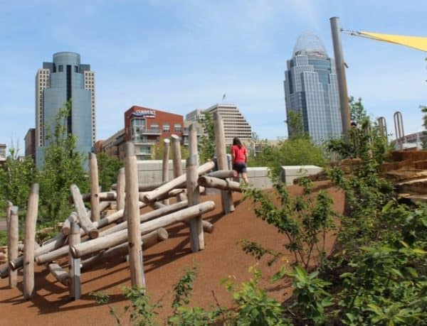 Log Walls to Climb at Smale Park in Cincinnati