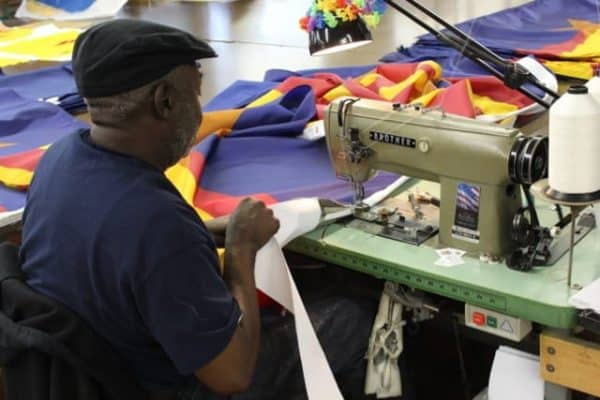 sewing flags at the National Flag Company