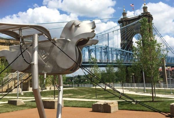 Smale Riverfront Park and the Roebling Bridge in Cincinnati