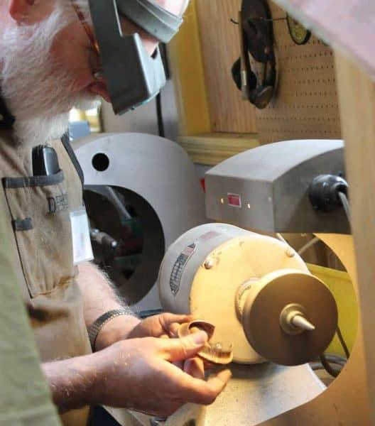 Copper bracelet making at Gastineau Studios in Berea