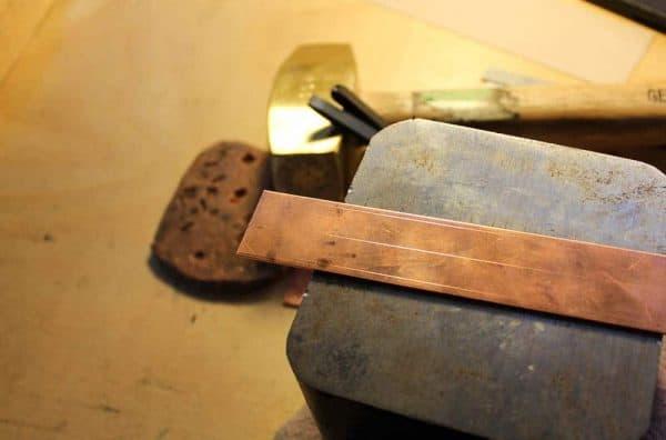 Copper bracelet making in Berea