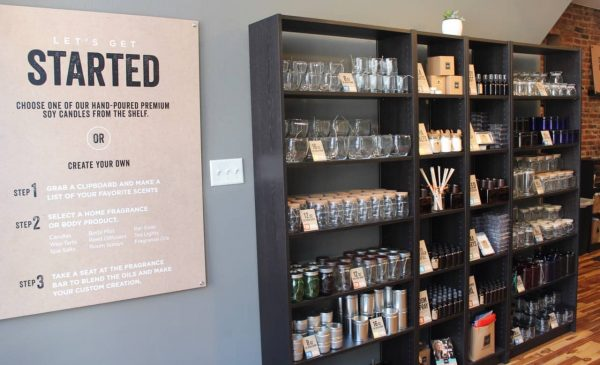 Choosing your product at the Candle Lab in OTR