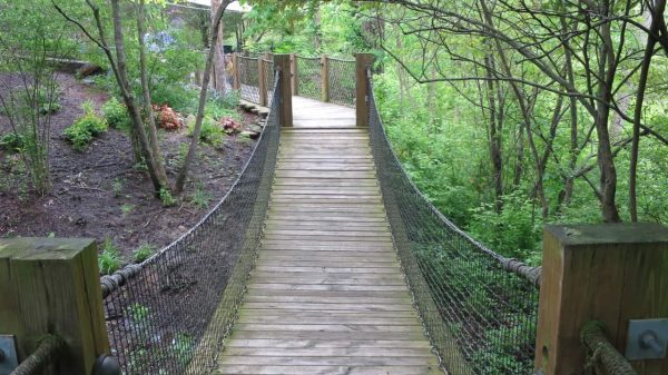 Swinging bridge at Highfield Discovery Garden