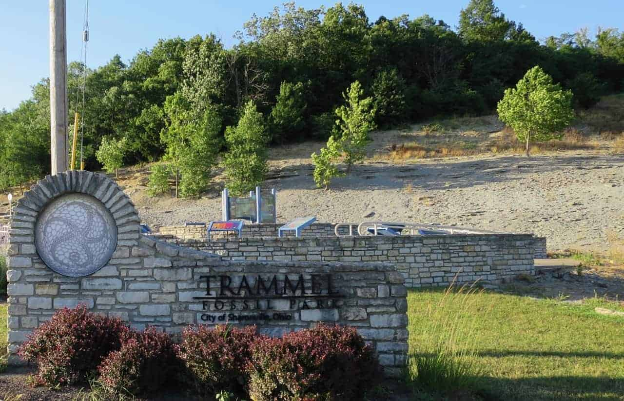 Trammel Fossil Park and sign
