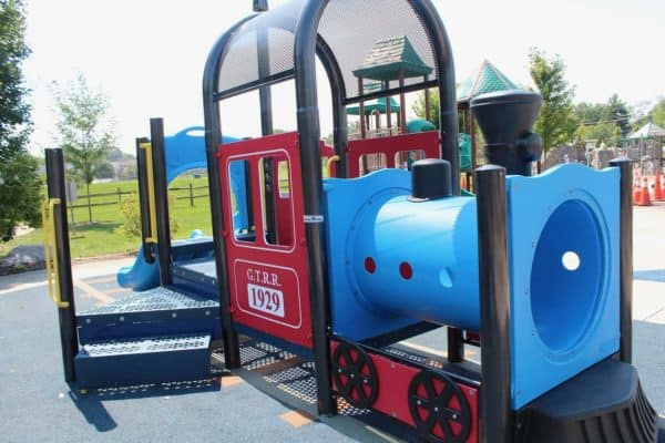 Train play structure at Beech Acres Park in Anderson
