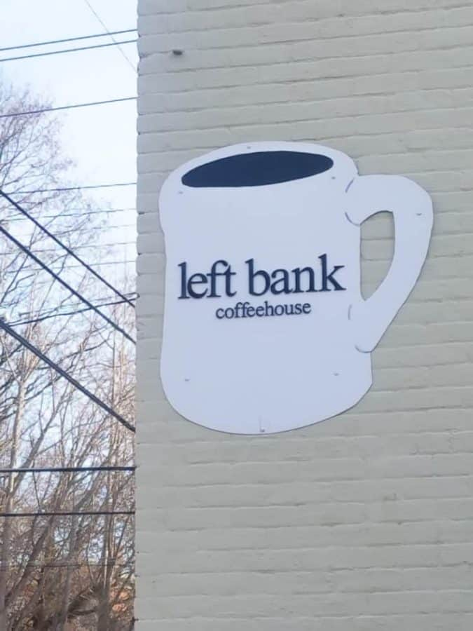 Left Bank Coffeehouse signage in Covington