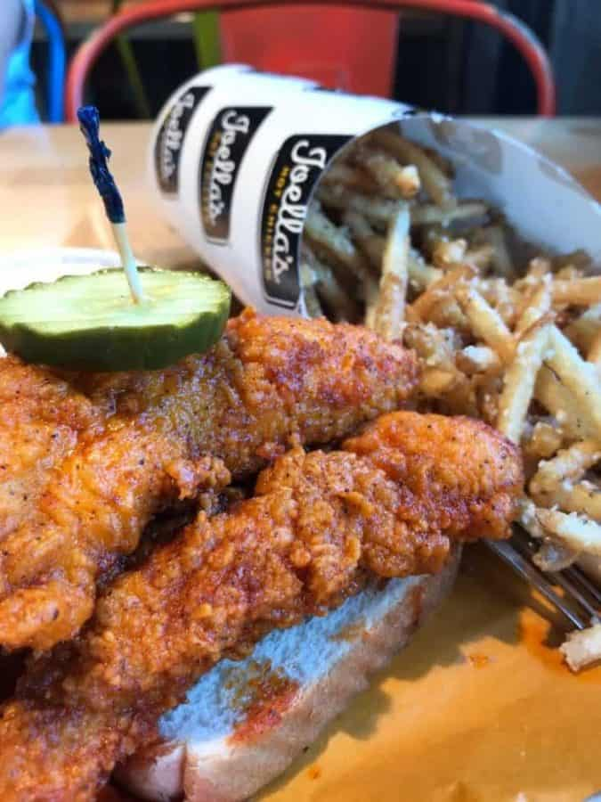 Joella's Hot Chicken dinner