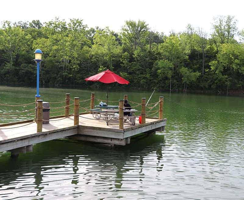 Fishing from the dock at Lake Isabella