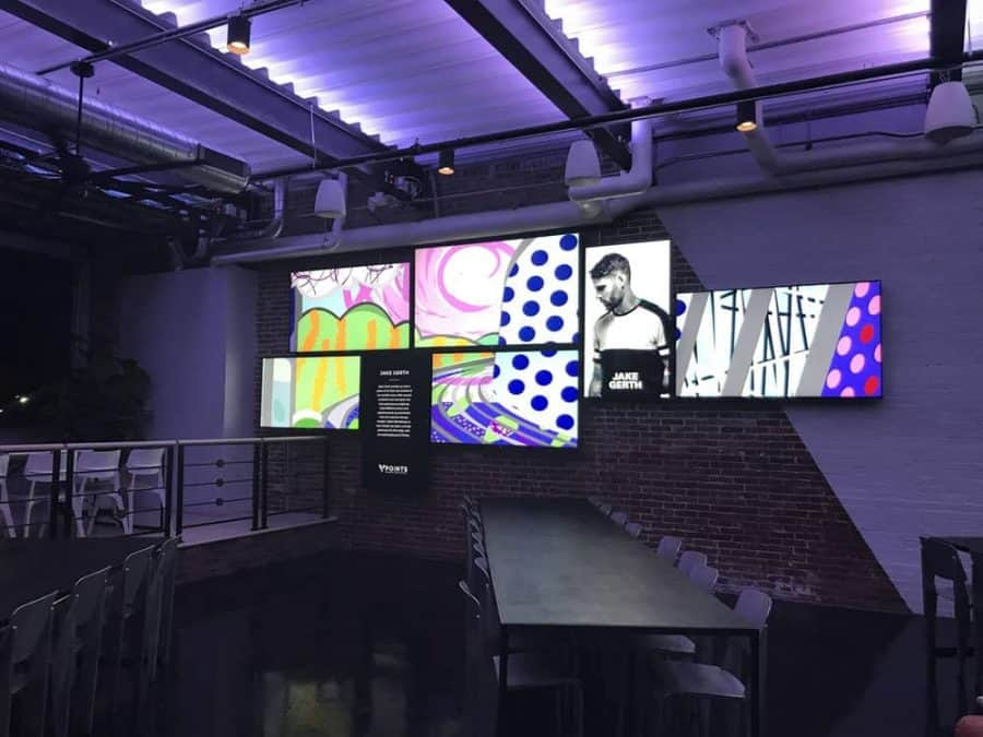 Artwork displayed on screens at 3 Point Urban Brewery in Cincinnati Ohio