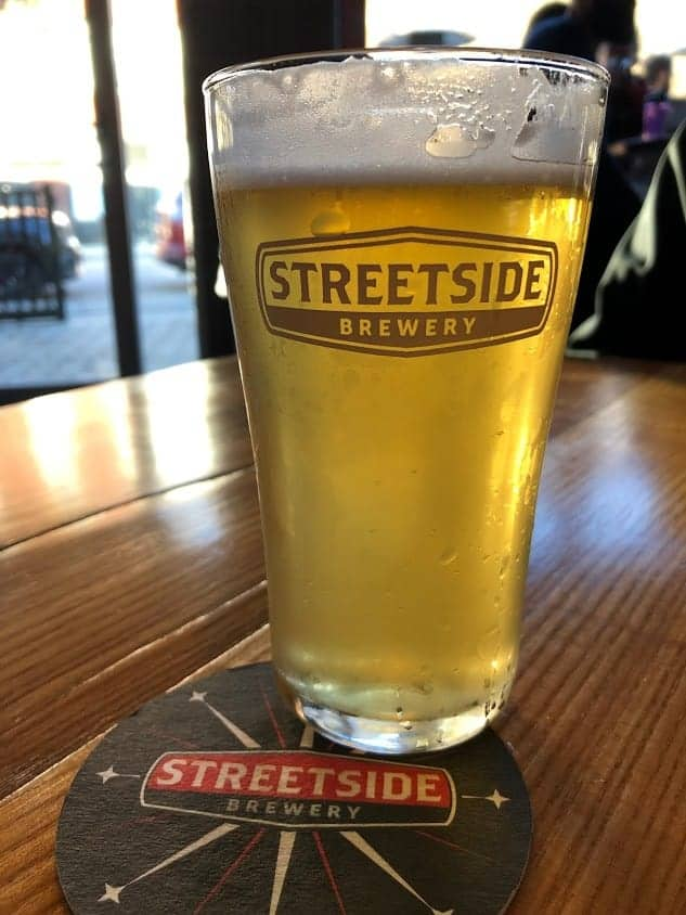 Beer in a glass at Streetside Brewery