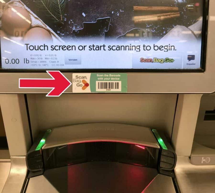 Scanning at the register for Scan Bag Go