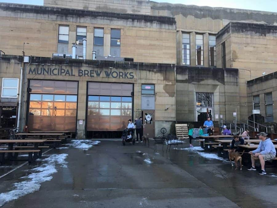 Municpal Brew Works, Hamilton Ohio front entrance with snow