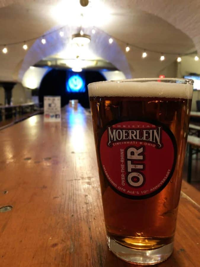 Beer in glass at Christian Moerlein taproom in Over the Rhine