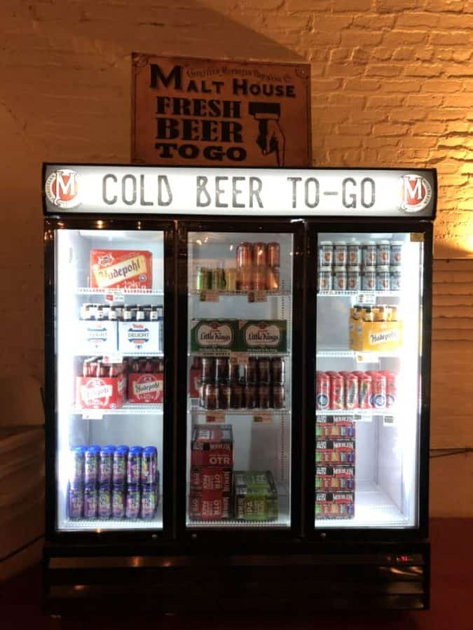 Beer to Go freezer at the Moerlein taproom