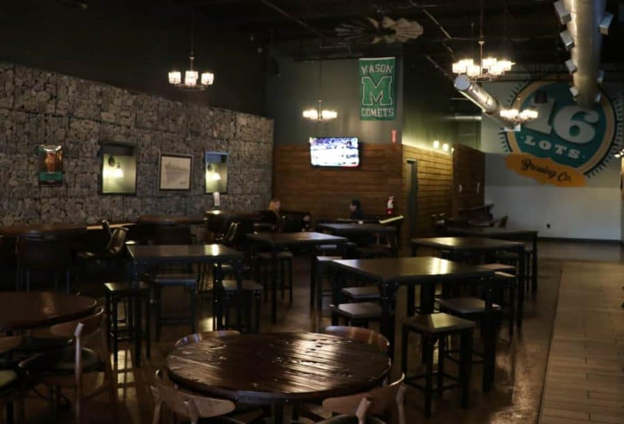 taproom seating at 16 Lots Brewing in Mason, Ohio